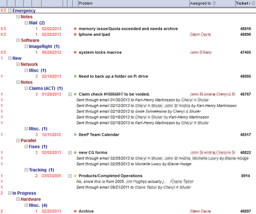 I use red text in views as well to indicate that a certain column is hidden, and used only for sorting,