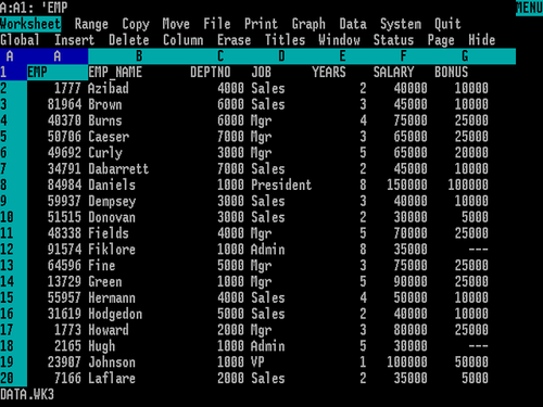 Lotus 1-2-3 version 3.0 for MS/DOS