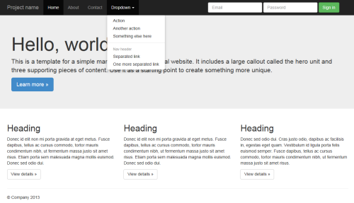A sample site created with Bootstrap 3