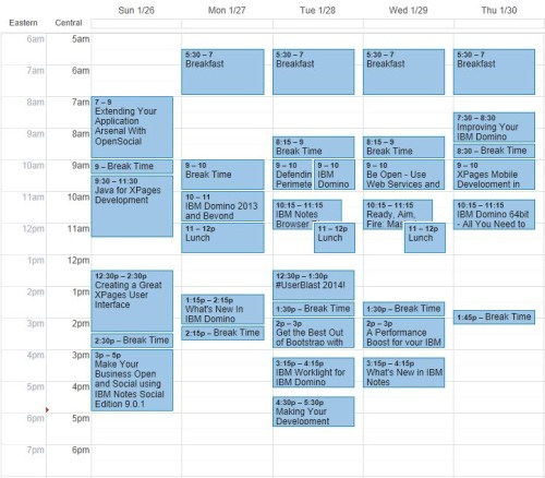 My preliminary schedule for Connect 2014