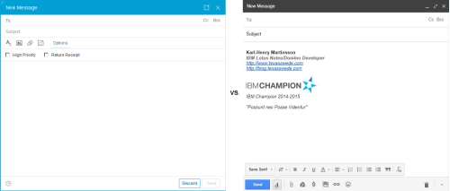 New email message in Verse (left) vs GMail (right)